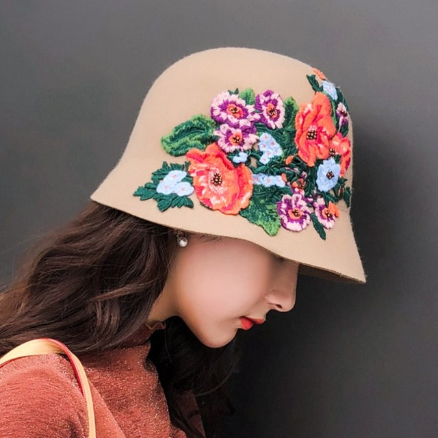 bdbba67a Seioum Autumn winter England retro Women Winter 100% Wool Felt Hats Lady  Party Formal Brim Flower embroidery Woolen Fedora Hat