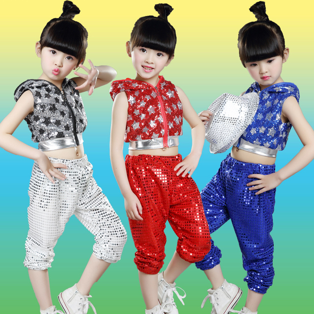 d30241892 10pcs/lot Free Shipping Sequin Kids Hip Hop Dance Costumes Children Girls  Boys Jazz Hiphop Clothes Stage Ballroom Dancing Wear