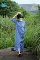 LinenAll Summer Ramie Twist Old Blue Small Daisy Fit Single Row Loose Loose Dress Gown