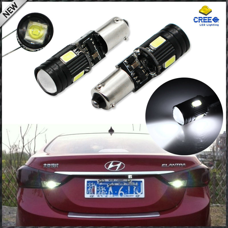 (2) Error Free Xenon White 2W CRE'E w/ 4-SMD H21W BAY9s 120 Degrees LED Replacement Bulbs For Reverse Lights or Parking Lights 2pcs brand new high quality superb error free 5050 smd 360 degrees led backup reverse light bulbs t15 for jeep grand cherokee