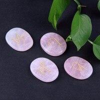 4pcs Natural Pink Rose Quartz Engraved Chakra Palm Stone Archangel Symbols Set Reiki Healing Crystals Home