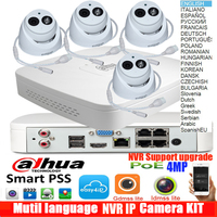 dahua Mutil language 4ch H.265 4k POE IP Camera DH IPC HDW4433C A System Security Camera Outdoor 4CH 4K NVR NVR4104 P 4KS2 Kit