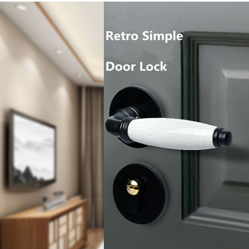 Modern simple black indoor slient split solid wooden door lock white crack ceramic bedroom bookroom door lock рябченко в ред репка сказки