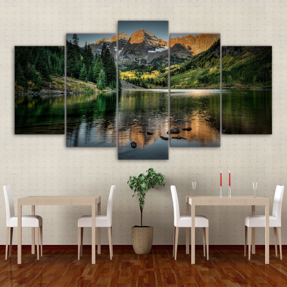 Modern Home Decor Living Room Modular Canvas 5 Panel Mountains Lake Landscape Frame Wall Art Poster HD Print Painting Pictures