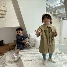 Осенний корейский стиль; модный однотонный Длинный плащ для девочек; свободные универсальные куртки с отложным воротником для маленьких мальчиков; верхняя одежда