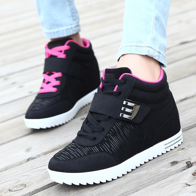 Women's Shoes Hidden Wedge Invisible Heel Shoes 2017 Women Casual Shoes Leather High Top Breathable Platform Chaussure Femme