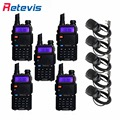 5x transceptor walkie talkie retevis rt-5r + 5x mini sperker mic 5 w uhf/freqüência vhf portátil em dois sentidos comunicador de rádio moscovo