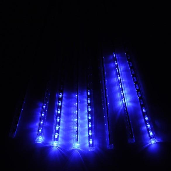 US Plug 30CM Led Meteor Shower Rain Tube Light Holiday Christmas LED Lights Wedding Garden Tree Decoration Lamp 100-240V Blue 34