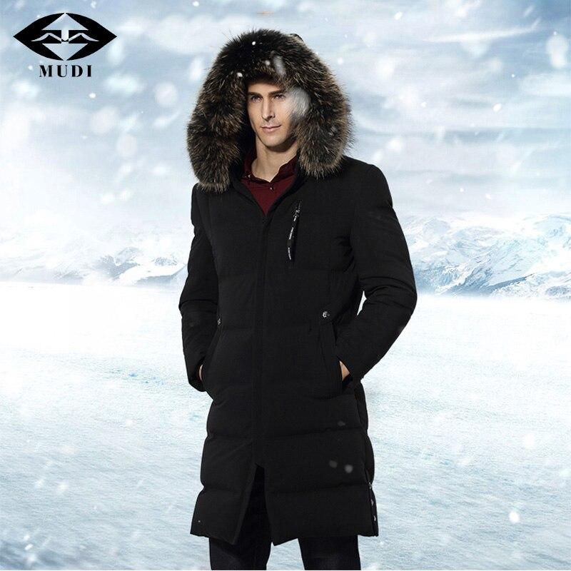 Муди Для Мужчин's Подпушка куртка 90% утка Подпушка зимняя куртка теплые длинные Подпушка пальто Мех животных с капюшоном съемный верхняя оде...