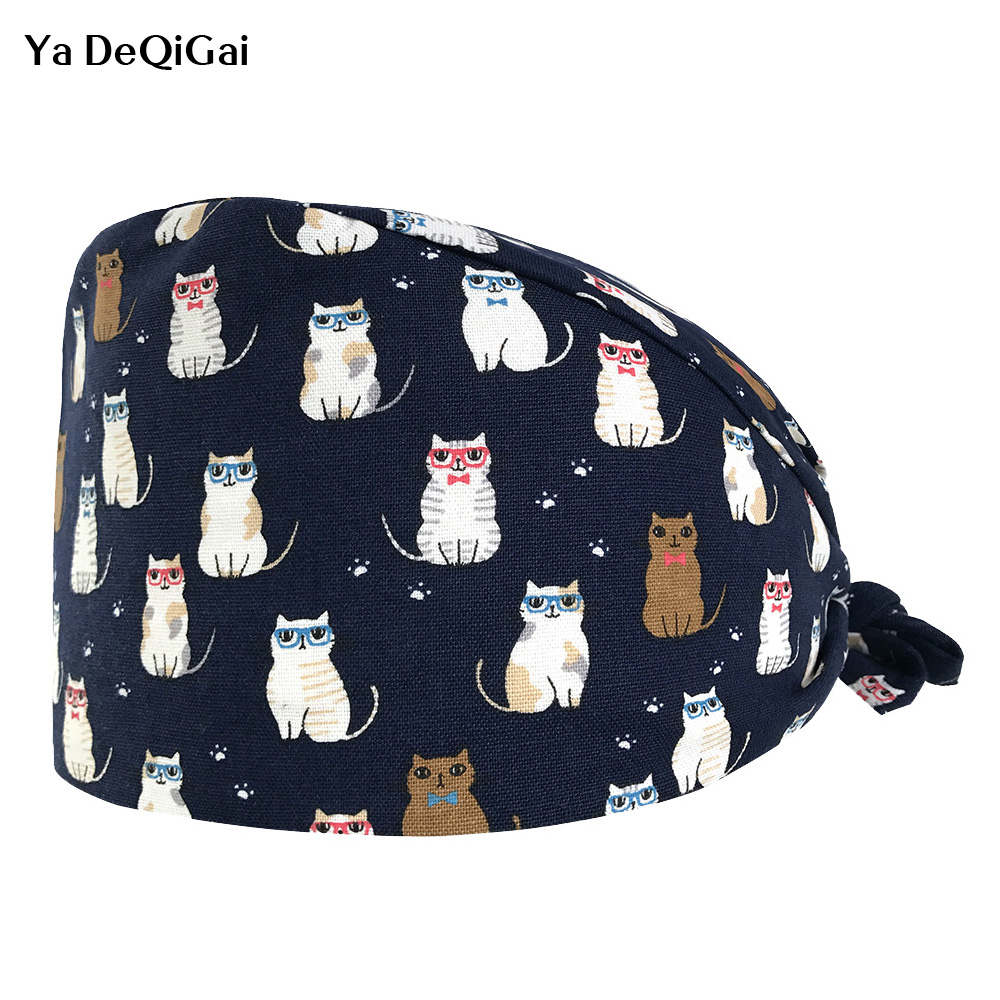 Surgical Caps Hospital Doctor Nurse Medical Hats Beauty Salon Surgical Caps Cat Printing Nursing Scrubs Hat Clinic Pharmacy Hat