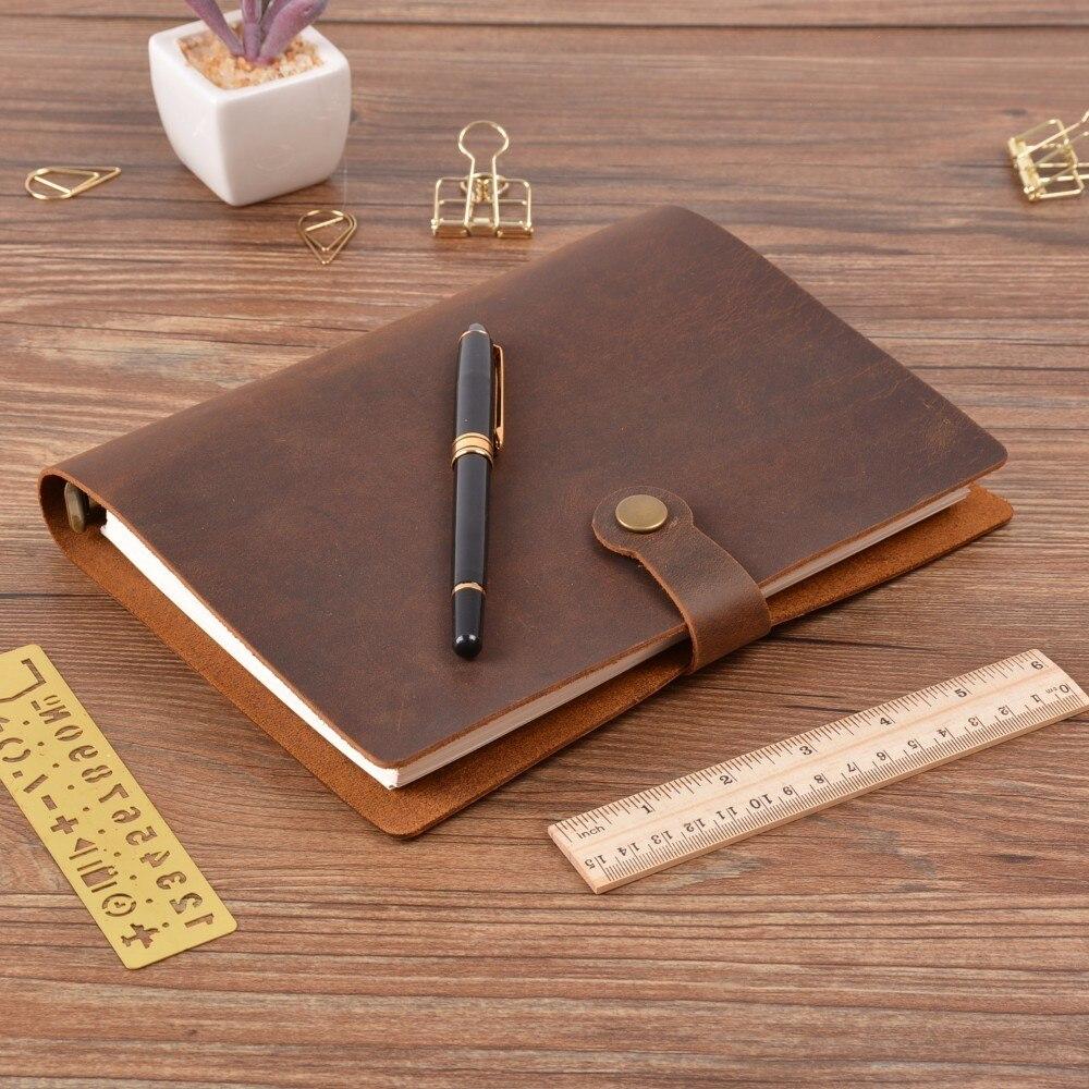 Moda superior anéis de couro genuíno caderno a5 planejador com latão binder espiral sketchbook snap botão diário pessoal artigos de papelaria