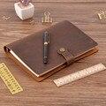 Parte superior de cuero genuino de moda anillos cuaderno A5 planificador con latón carpeta espiral cuaderno botón Personal diario papelería