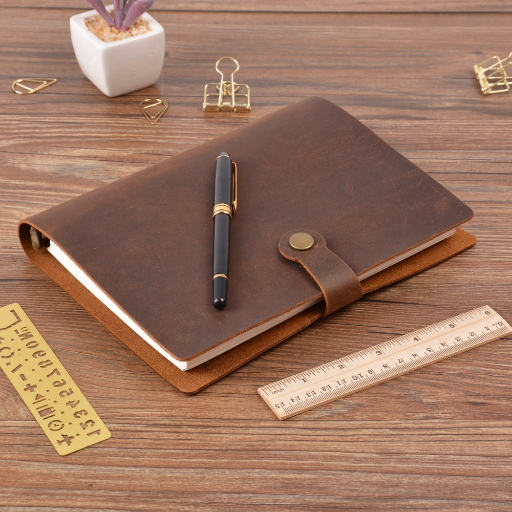 Top Fashion Genuine Leather Rings Notebook A5 Planner With Brass Binder Spiral Sketchbook Snap Button Personal Diary Stationery