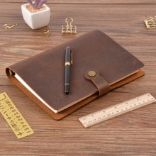 Rings Notebook Stationery Snap-Button A5 Planner Brass-Binder Personal Diary Genuine-Leather