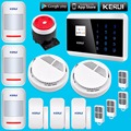English Russian French Spanish Voice APP IOS Android GSM GSM PSTN Home Alarm Security System Touch Pad Smoke Detector