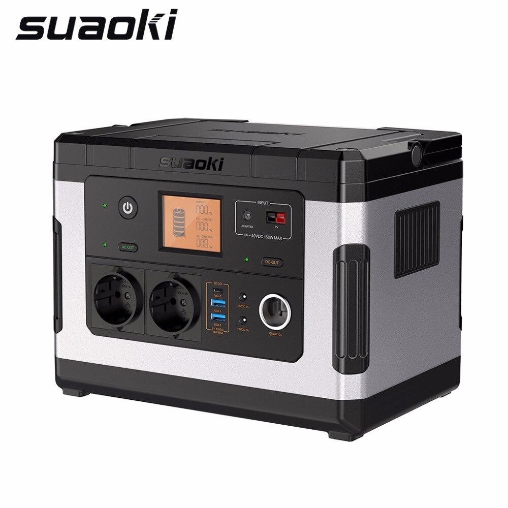Générateur solaire Rechargeable portatif de centrale électrique de Suaoki G500 500Wh 300 W AC/DC 12 V pour le Camping d'urgence de voiture en plein air