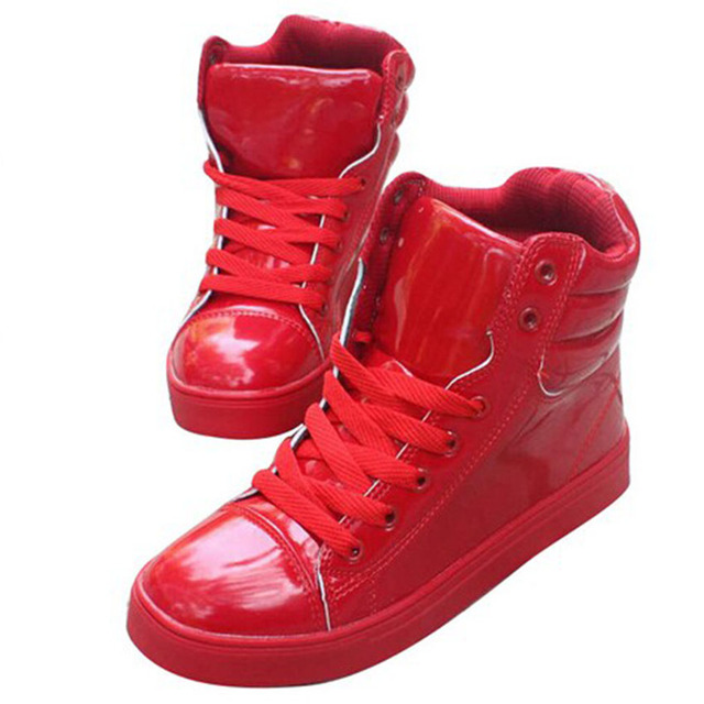 Jasper Carmen New Women And Men Candy Color Patent Leather Shoes  Waterproof Plateform Lace Up High -top Couple Shoes 40 T