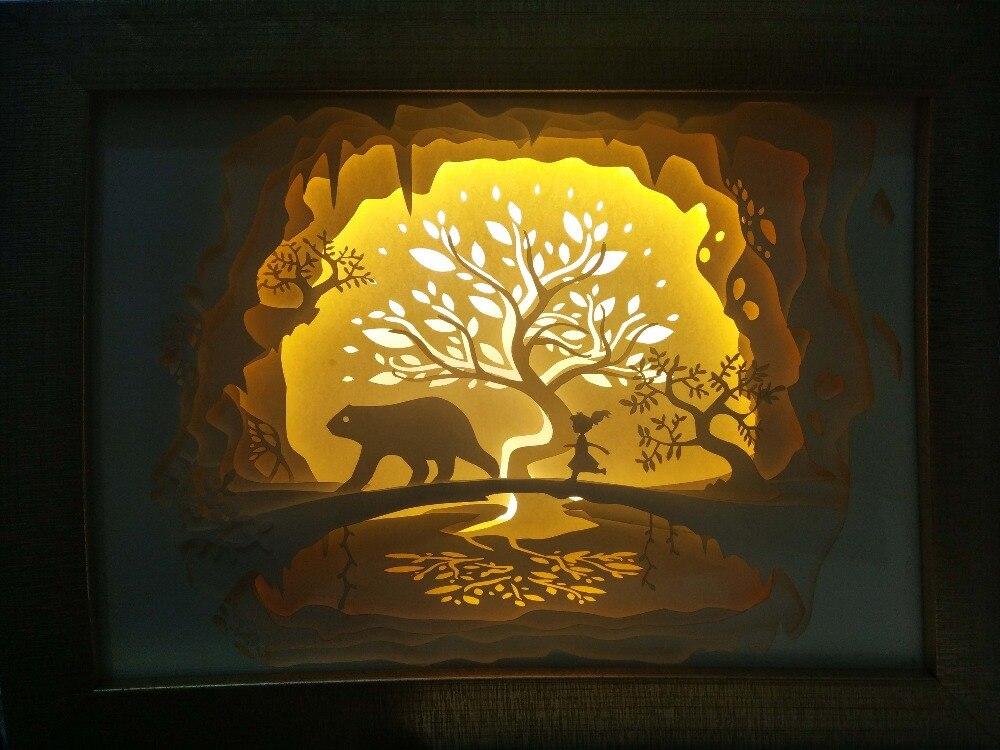 Winnie Anne bear Paper cutting lights LED nightlights 3D carved wall ...
