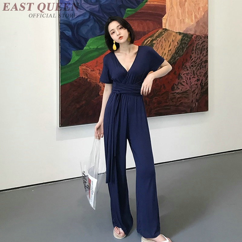 current bodycon short sleeves v-neck bodysuit sexy sash cotton solid comfortable wide leg Vintage Jumpsuits & Rompers AA3799 Y a