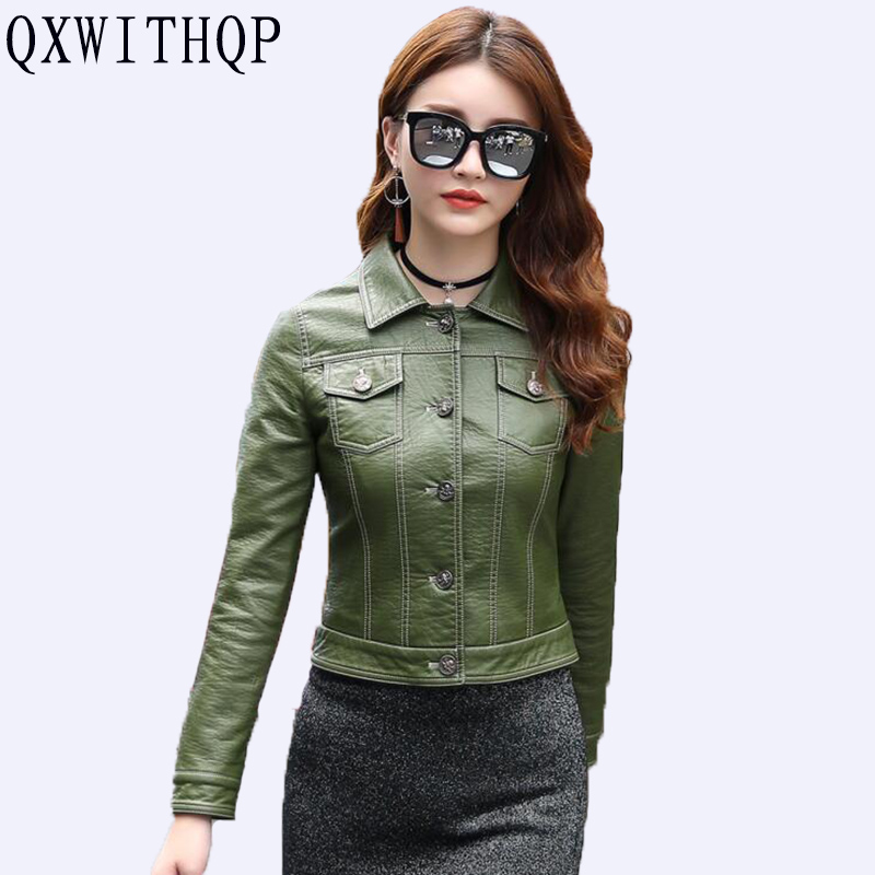 QXWITHQP 2019 Spring And Autumn Loaded New Fashion Small   Leather   Women Short Section Slim Tide Motorcycle PU   Leather   Jacket Wild