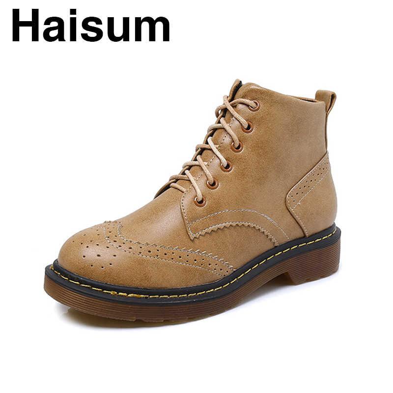 Kadın kısa çizmeler kadın Haisum botları düz alt platformu rahat öğrenci bayan botları H-222-2