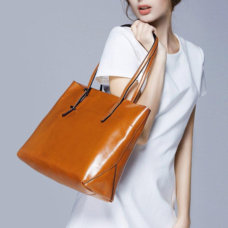 Women Handbag Soft Oil Wax Genuien Leather Shoulder Bag Brand Women Bag Large Capacity Casual Tote Bag Crossbody Bag