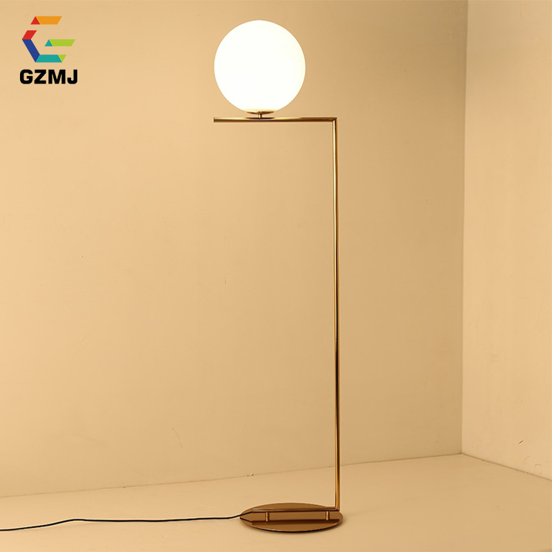 GZMJ Modern Brief Floor Lamp 110-240V Glass Ball Lampshade LED Standing Lamp E27 Metal Floor Lamps for Living Room Bed Room цена
