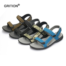 GRITION Outdoor Athletic Sandals Men Summer Shoes Casual Shoes Breathable Beach Sandals Sapatos Masculinos Plus Big Size 41-46