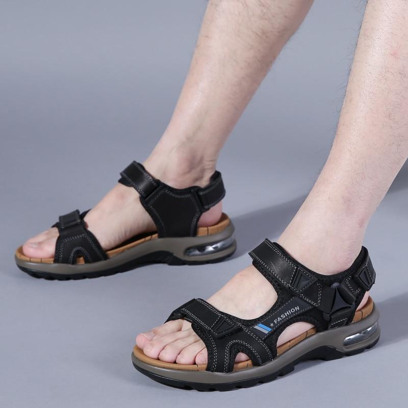 Shoes Men Sandals Beach-Slippers Fashion Summer Black Casual Polali Ete Homme Man