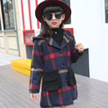 Girls Winter Wool Coats Long Hooded Jacket Coat Children's Windbreaker For Girls Jas Girls Wol Childrens Coats SYHB120403