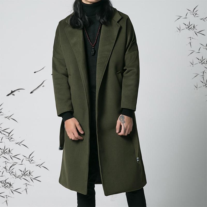 Laine Hommes Ceinture Vêtements Long Style Green Manteau Longue vent Nouveau black Dark Rétro dark Des Chinois 2018 Section D'hiver Brown De Coupe Jeunesse Fxwd0t0