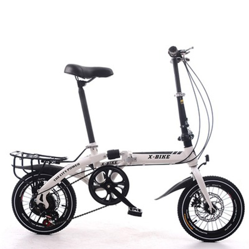 Adult Folding Bike 16-Inch Speed Change Two-Disc Brake Folding Car Small Wheel Portable Student Leisure Bicycle