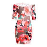 TFGS Women S Sexy Florals Print Mini Dress Summer Ladies Off Shoulder Slash Neck Elastic Bodycon