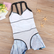 Skirted swimwear plus size one piece swimsuit large push up beach dress 2017 summer one-piece bathing suit monokini plavky h407