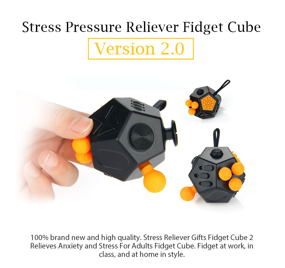 Fidget Cube 2 Stress Reliever Gifts Relieves Anxiety 12 Sided Magic Cube For Adults Kids Anti Stress EDC Fidget Hand Spinner