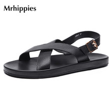 mrhippies Men's Sandals Men's Summer Leather Beach Shoes Casual Shoes 2017 New Leather Backhair Anti-slip Slippers Men's Shoes