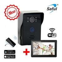 Saful Беспроводной Wi Fi телефон видео домофон + крытый звонок + 7 tablet беспроводной дверной звонок Камера Системы с Ночное видение приложение