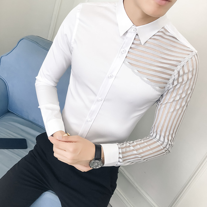 Camisa Masculina See Through Lace Hollow Men Shirt Long Sleeve Spring 2019 Mens Shirts Casual Slim Fit Night Club chemise homme
