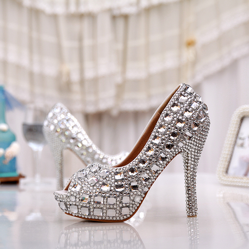 Elegant Silver Color Peep Toe Party Prom Women High Heels 5 Inches Bridal  Wedding Shoes Silver Rhinestone Crystal Handmake Shoes-in Women s Pumps  from Shoes ... 3bd8381344be
