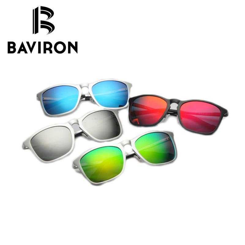 Sluneční brýle BAVIRON Spring Hinge Legs Al-Mg Frame Tónované polarizované brýle Populární hranaté brýle UV400 Driving Sun Glasses 8575