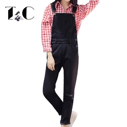 Tc black jumpsuit 2016 autumn new arrivals ripped hole washed blue loose casual women denim overalls.jpg 250x250