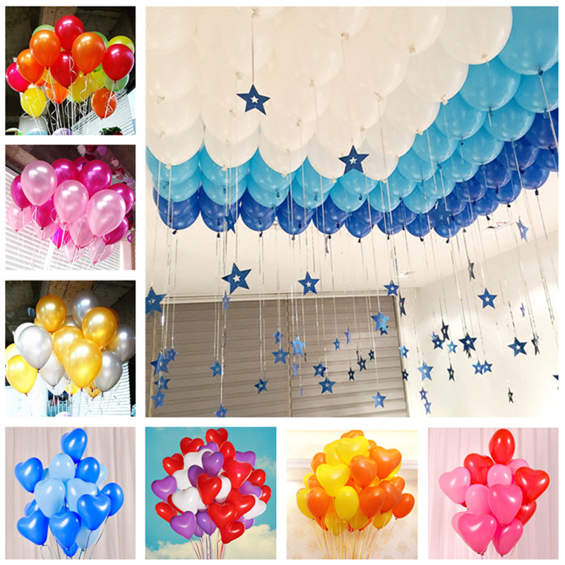 5pcs 10inch 22g Blue Heart Latex Balloons Happy Birthday Decoration Wedding Ballon Baby Shower Inflatable