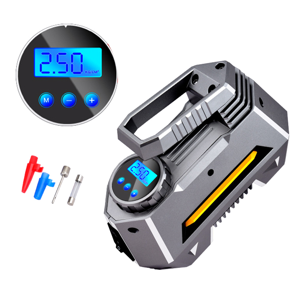 12V 120W 120PSI Digital LED Display Larger Flow Emergency Tyre Inflator Car Automatic Air Compressor Portable Super Bright