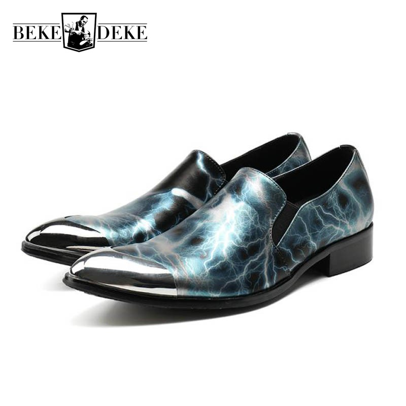 Italian Designer Printed Shoes Men Metal Pointed Toe Male Wedding Dress Shoes 2018 New Plus Size Slip On Office Party Footwear plus size christmas candy printed dress