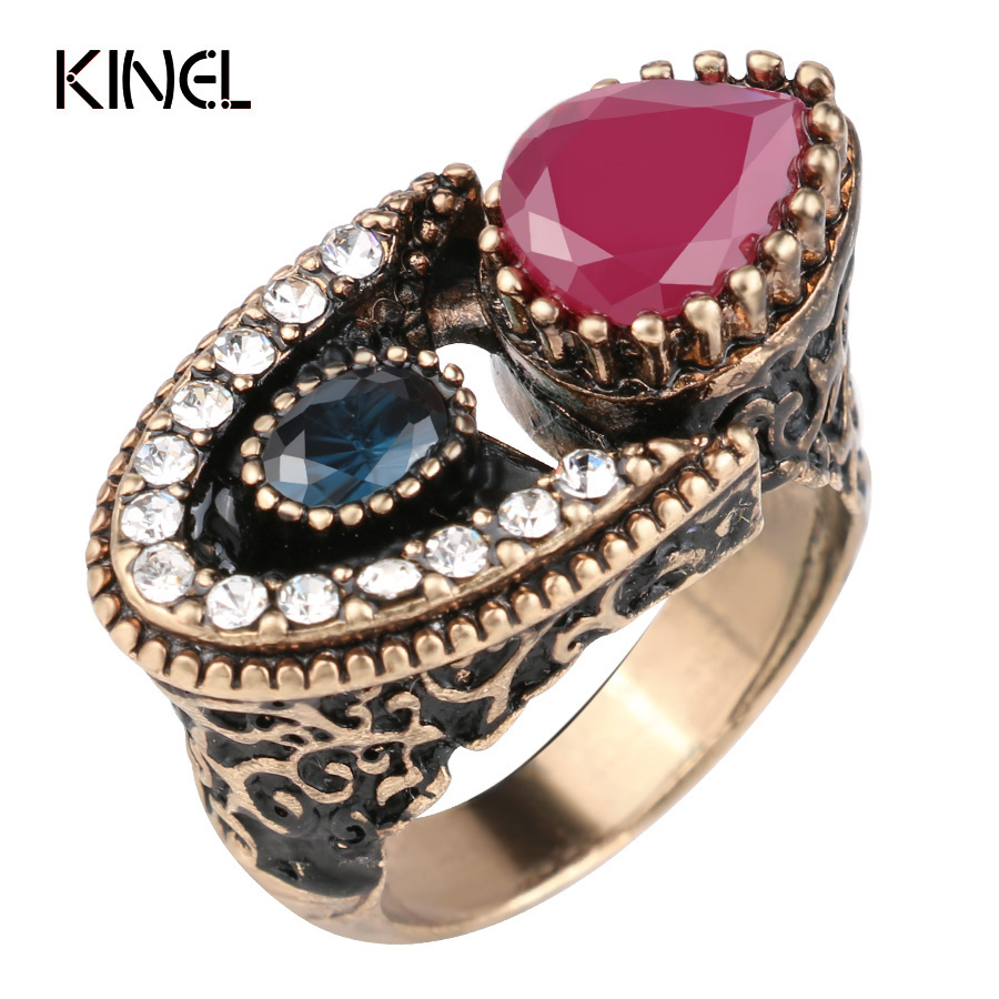 2017 New Unique Vintage Gold Color Ring Red Crystal Ethnic Antique Rings For Women Retro Bridal Fine Jewelry