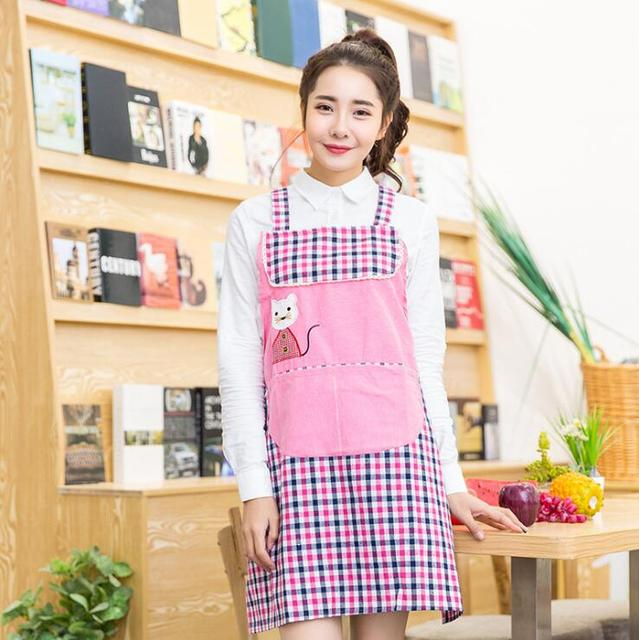New Fashion Cartoon Animal Home Cotton Cloth Aprons Embroidery