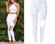 Большой размер женщин белые талией проблемные длинные джинсовые брюки мода тощий стрейч разорвал отверстие тонкий джинсы карандаш брюки