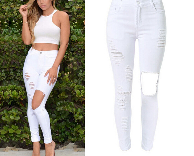 2bef3617225 Plus Size Women White High Waist Distressed Long Denim Jeans Pants Fashion  Skinny Stretch Ripped Hole Slim Jeans Pencil Pants
