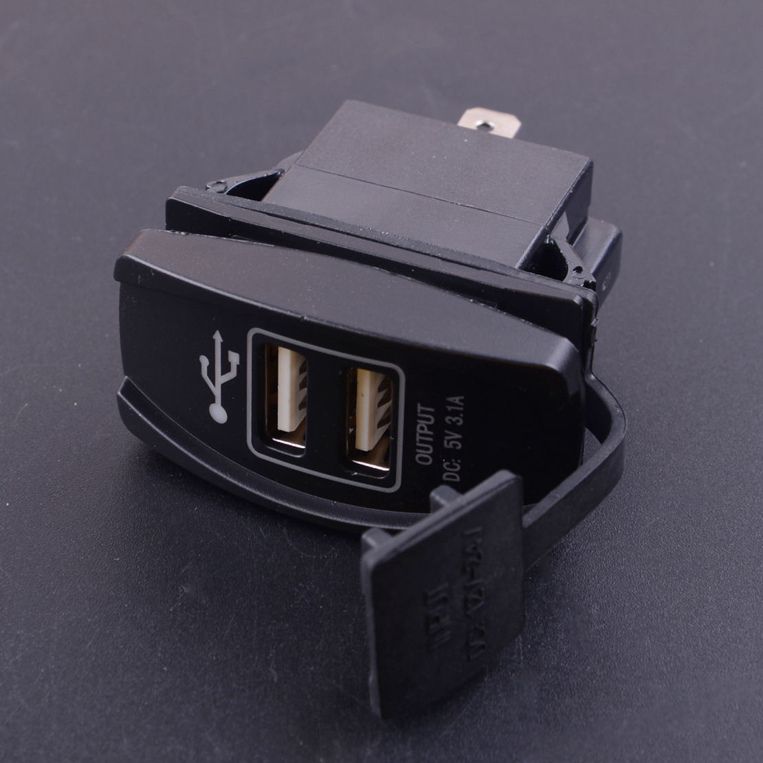 Black <font><b>Car</b></font> Auto <font><b>12V</b></font> 24V <font><b>3.1A</b></font> Blue LED <font><b>Dual</b></font> <font><b>USB</b></font> Power Supply Mobile Phone Cigarette Lighter <font><b>Charger</b></font> Port <font><b>Socket</b></font> <font><b>Adapter</b></font> Waterproof image