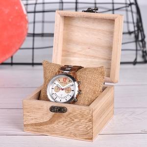 Image 5 - Bobo bird 럭셔리 우드 남성 시계 브랜드 방수 스테인레스 스틸 시계 날짜 표시 orologi acciaio uomo